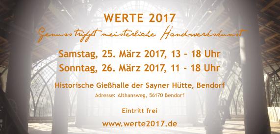 Informationen zur Ausstellung WERTE 2017 in der Sayner Hütte in Bendorf